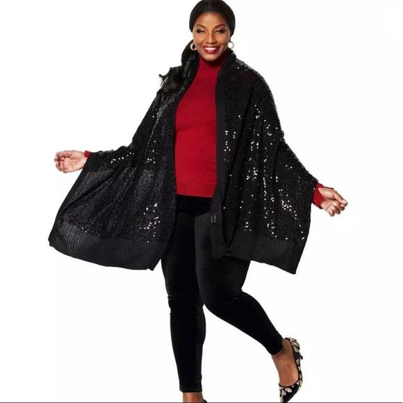 IMAN Accessories - NWT IMAN black sequin wrap/scarf
